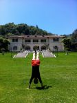 A handstand in front of James Duval Phelan's glorious Villa Montalvo
