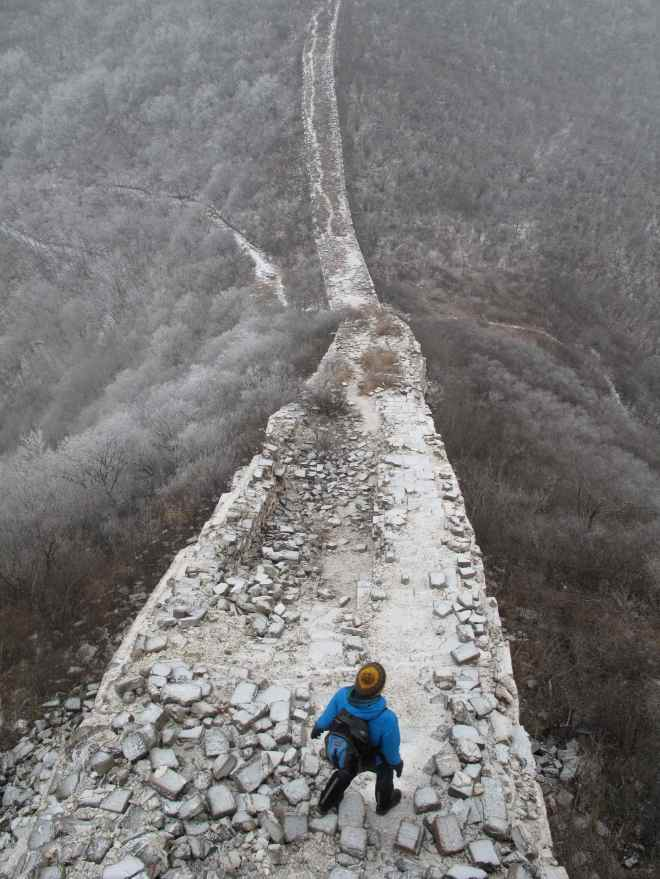Great Wall and snow and Abigail